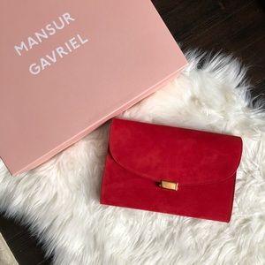 Mansur Gavriel Bags - Mansur Gavriel Flamma Suede Envelope Flat Clutch